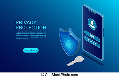 banner protect data and confidentiality on mobile. privacy protection and security are confidential. flat isometric vector illustration