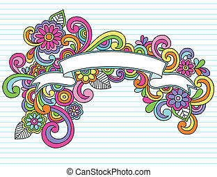 Psychedelic Banner / Scroll Hand Drawn Notebook Doodle Design Element on Lined Sketchbook Paper Background- Vector Illustration