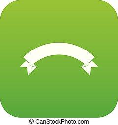 Banner ribbon icon digital green