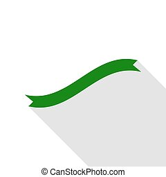 Banner ribbon sign. Green icon with flat style shadow path.