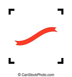Banner ribbon sign. Vector. Red icon inside black focus corners on white background. Isolated.