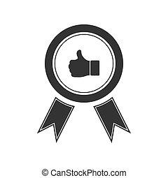 Banner ribbon Thumb up icon flat
