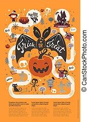 banner., rigolote, style, vecteur, annonce, carte, caractères, spooky, fête, halloween, salutation, plat, invitation, aviateur, endroit, illustration, gabarit, text., fête, dessin animé, heureux