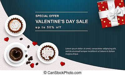 banner sale special offer up to fifty percent Happy Valentines Day with space for text decoration design two cupcakes and a Cup of coffee gift top view