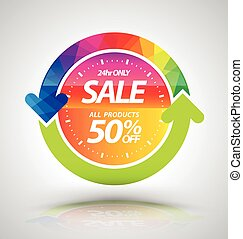 Banner sale with clock and circle