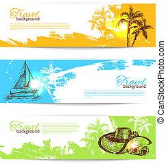 banner, satz, von, reise, bunte, tropische , spritzen,...