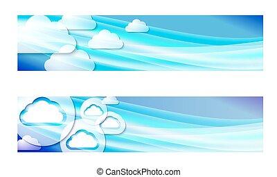banner, satz, wolkenhimmel, zwei, wellen