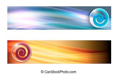 banner, satz, zwei, wellen, spirale