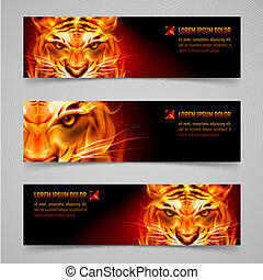 Banner - Set banners. Fire tiger message. Black background