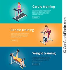 Banner set Fitness woman working out on exercise bike, Young woman with barbell flexing muscles, Pretty girl working out in a treadmill at the gym. Flat 3d isometric vector illustration.