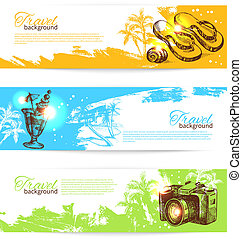 Banner set of travel colorful tropical splash backgrounds. Holoday banners with hand drawn sketch illustrations