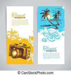Banner set of travel colorful tropical splash backgrounds. Holiday banners with hand drawn sketch illustrations