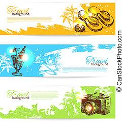Banner set of travel colorful tropical splash backgrounds....