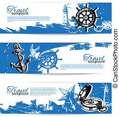 Banner set of travel vintage backgrounds. Sea nautical design. Hand drawn illustrations