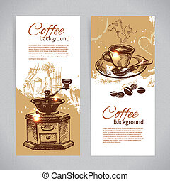 Banner set of vintage coffee backgrounds. Menu for restaurant, cafe, bar, coffeehouse