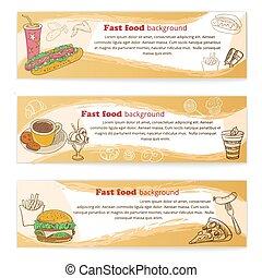 Banner set of vintage fast food backgrounds