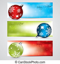 Banner set with christmas decorations