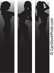 Banner set with sexy  silhouettes