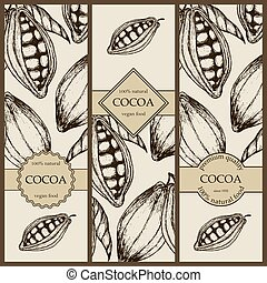 Banner set witn hand drawn cocoa. Vertical banner collection with cocoa products. Vintage vector illustration