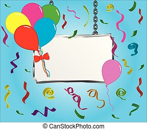banner sign with party balloons and confetti on blue background
