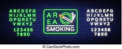 banner., signe, texte, signe., secteur, néon, symbole, clair, vecteur, endroit, alphabet, fumer, lumineux, édition, smoking., signe