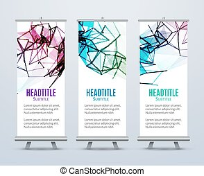 Banner Stand Design Template with Abstract Geometric background. Promotional template