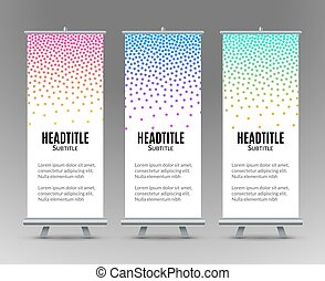 Banner Stand Design Template with Abstract Geometric Dot background. Promotional template