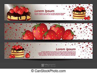 banner strawberry & cake
