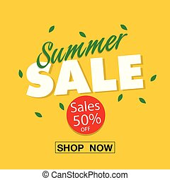 Banner Summer Sale 50% Off Shop Now Vector Image