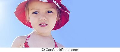 banner summer vacation beautiful child girl blue sky background