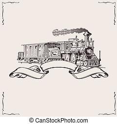 banner., szüret, vektor, illustration., lokomotív
