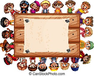 Banner template design with many kids around wooden board