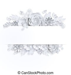 Banner template floral paper art with butterfly vector stock...