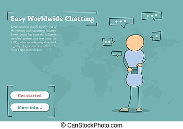 Banner template for Easy Worldwide Chating