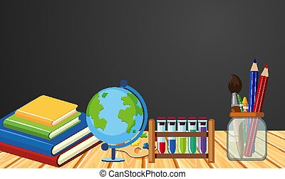 Banner template with books and stationeries on table