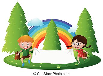 Banner template with boy and girl in park