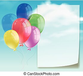 Banner template with colorful balloons in blue sky