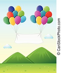 Banner template with colorful balloons in sky