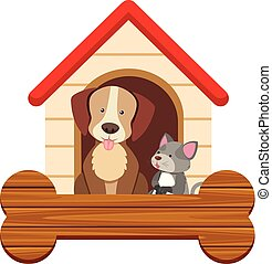 Banner template with cute dog and cat at pethouse