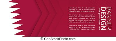 Banner template with flag of Qatar for advertising travel, business and other.