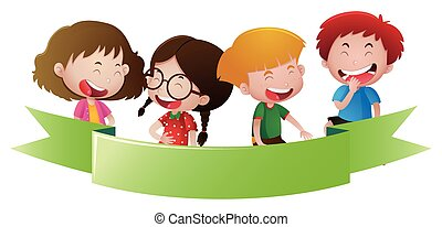 Banner template with four happy kids