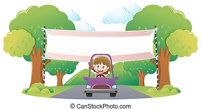 Banner template with girl driving purple car