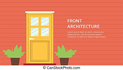 Banner template with house entrance door flat cartoon vector...