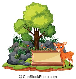 Banner template with little fawn illustration