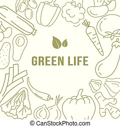Banner  template with organic vegetables.