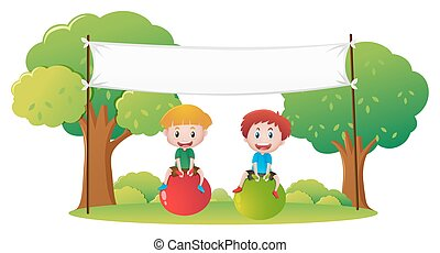 Banner template with two kids on big balls