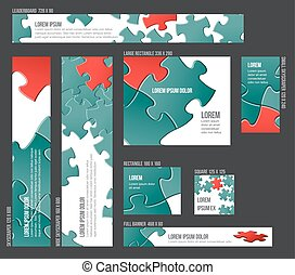 Banner templates collection with abstract puzzle background