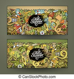 banner templates set with doodles camping theme - Vector...