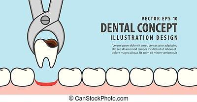 Banner Tooth removal illustration vector on blue background. Dental concept.