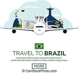 Banner Travel to Brazil, Rio de janeiro. Poster skyline. Vector illustration.